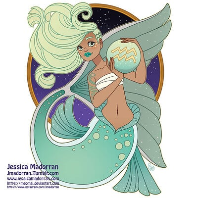 Jessica madorran patreon may 2021 zodiac mermaid aquarius artstation