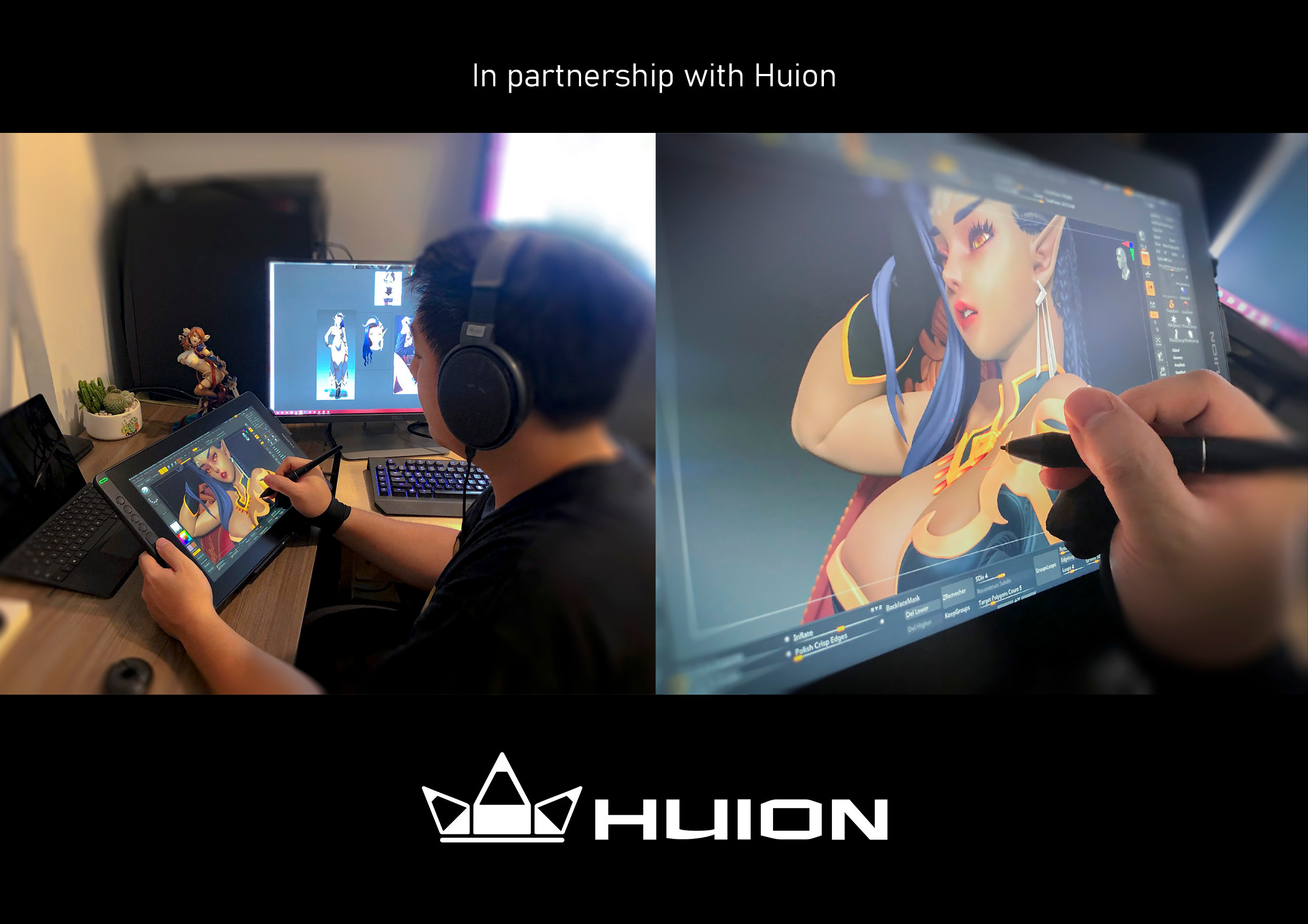 Special thanks to sponsorship of Huion that I have the opportunities to hand-on trying out the kamvas 16 to work on this project. It was a pleasure and unique experience using this one, giving me much more mobile flexibility and comfortable workplace