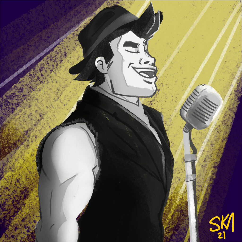 Doodle by donation, a friends character in '20s attire singing.
