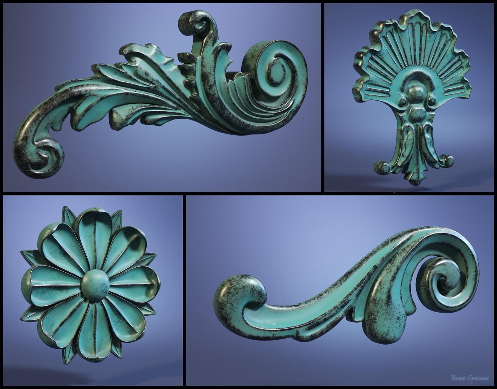 Ornamental Cartouche, Scroll's & Flower