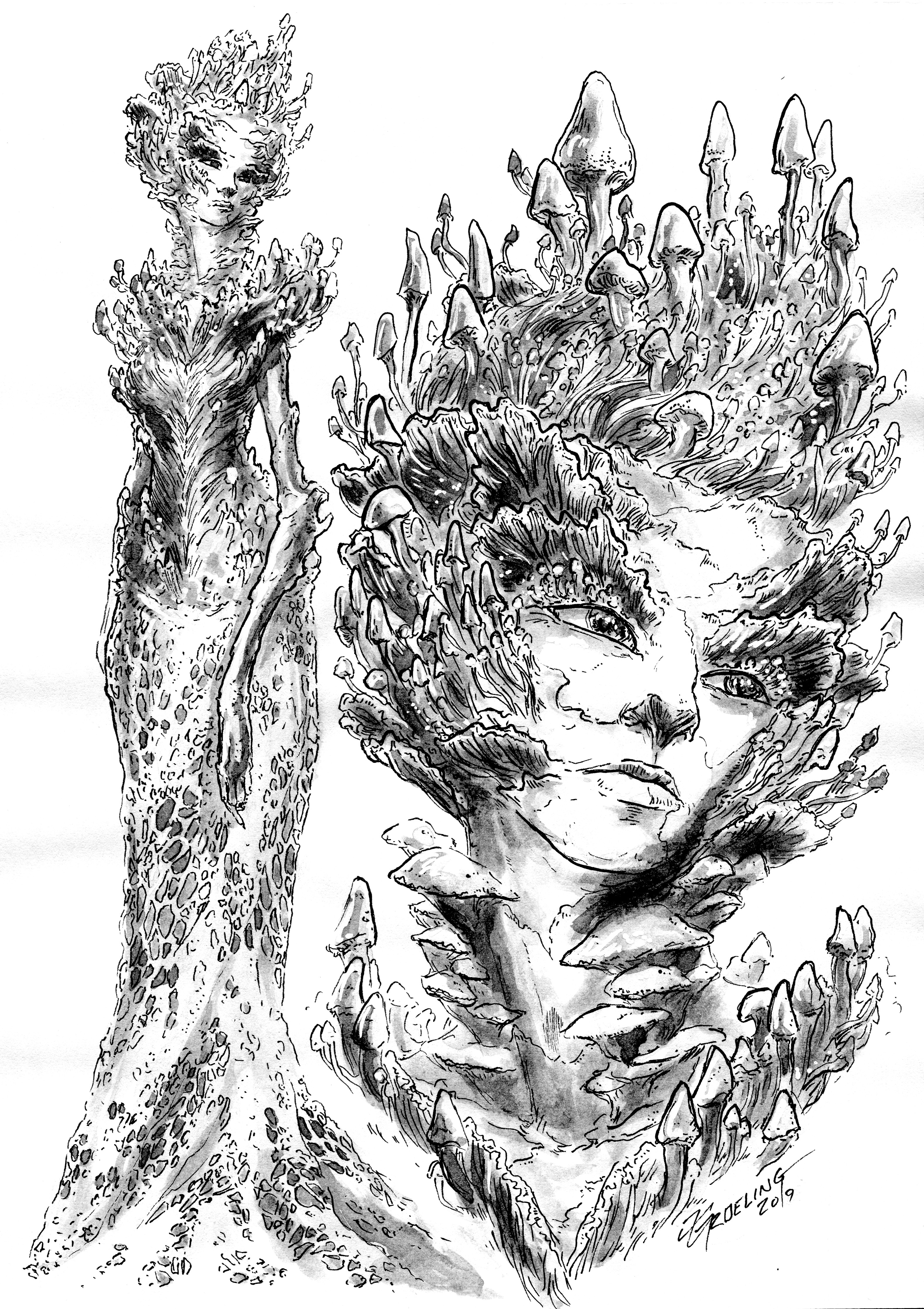 ink drawing, scanned for coloring