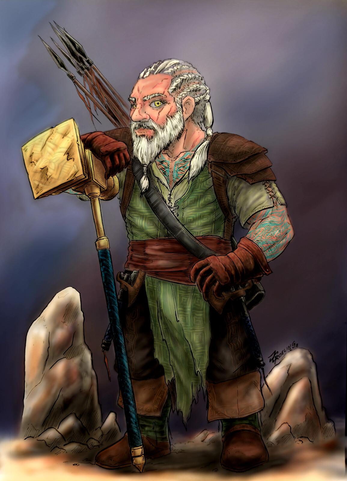 Dwarven Barbarian - D&D commission