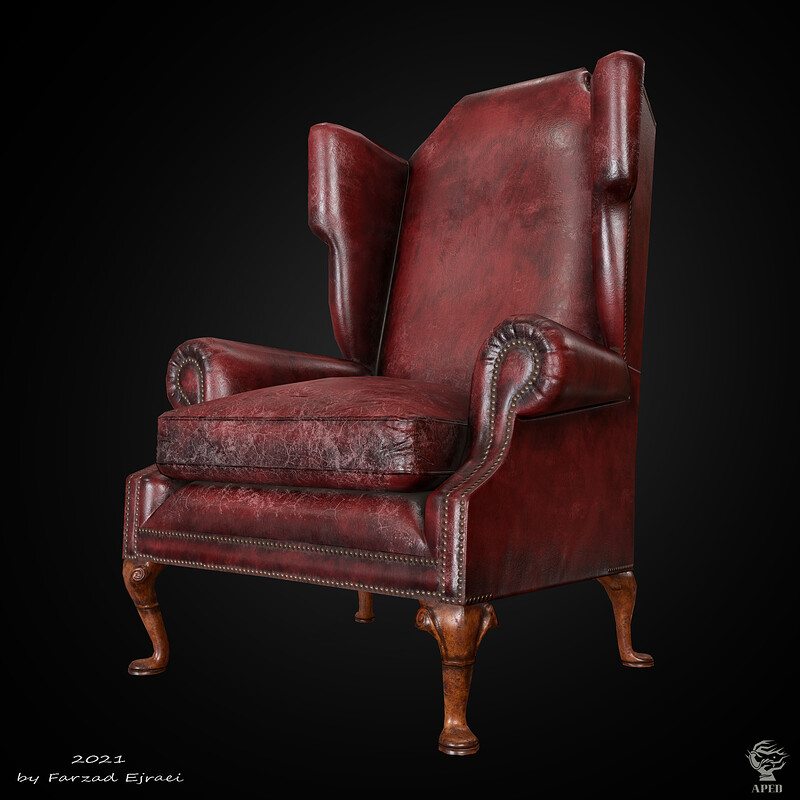 Vintage leather wing armchair