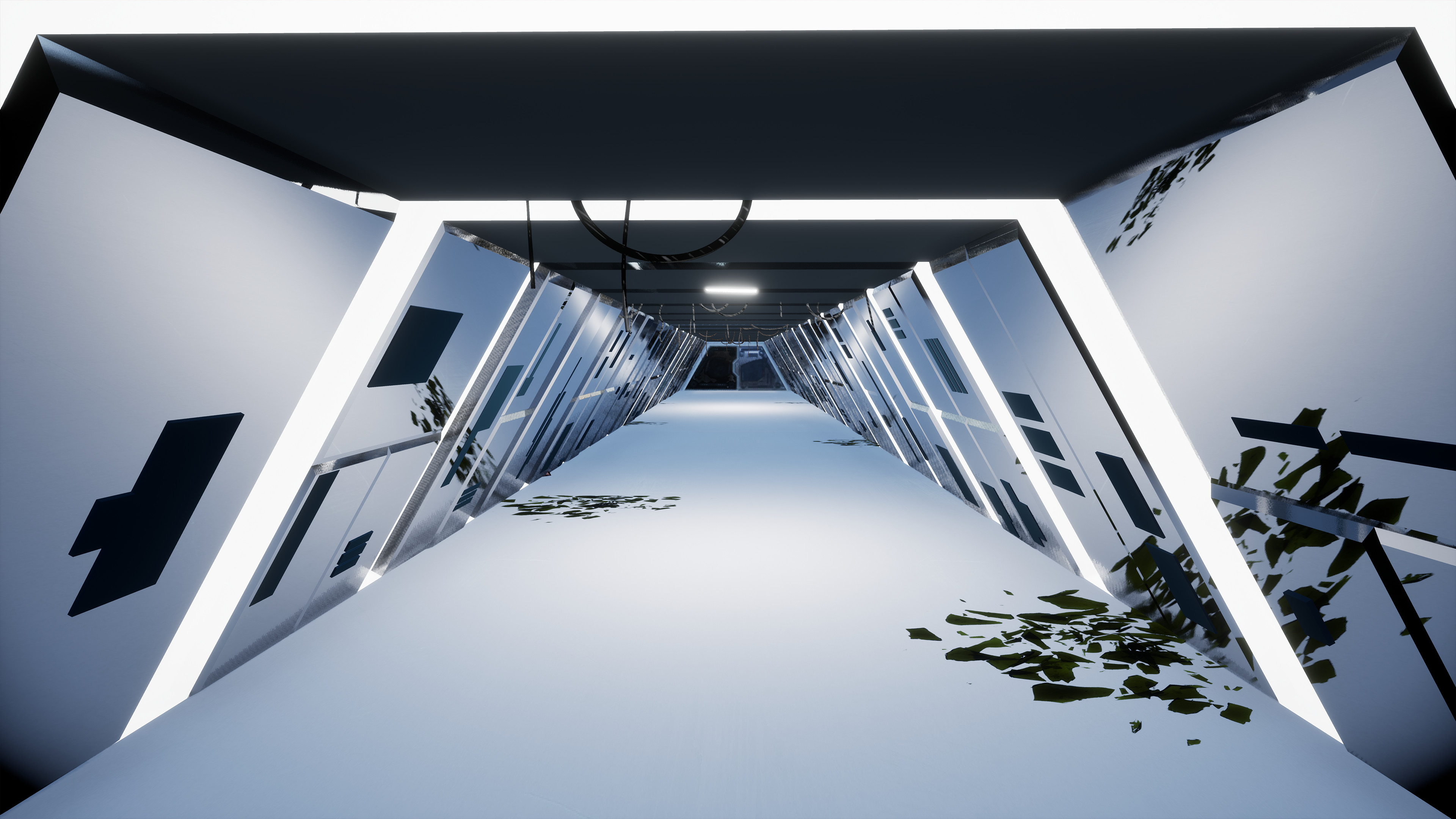 The corridor in the living facility where the player begins the level.