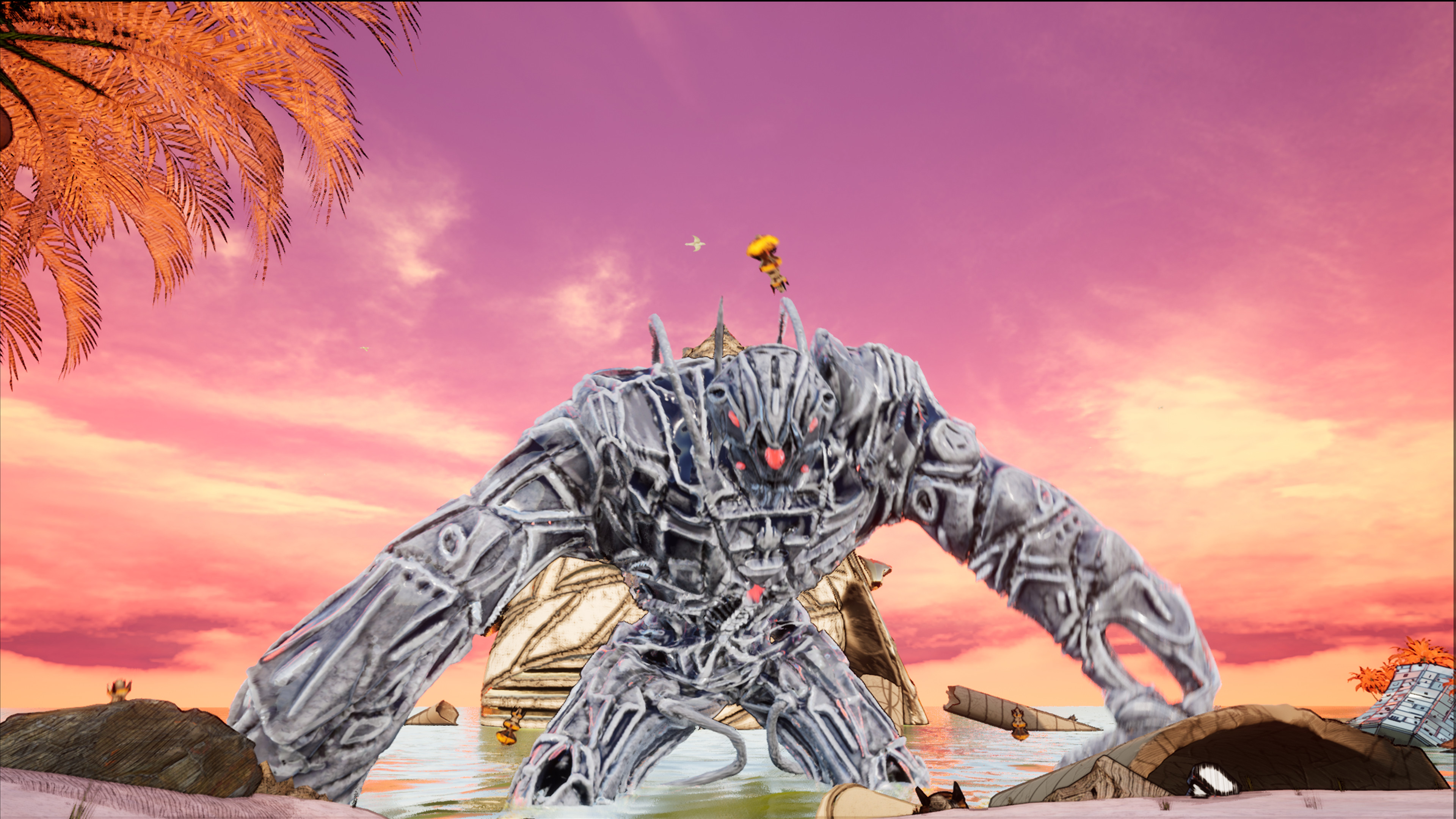 The defence robot rising out of the sea as the player reaches the beach.