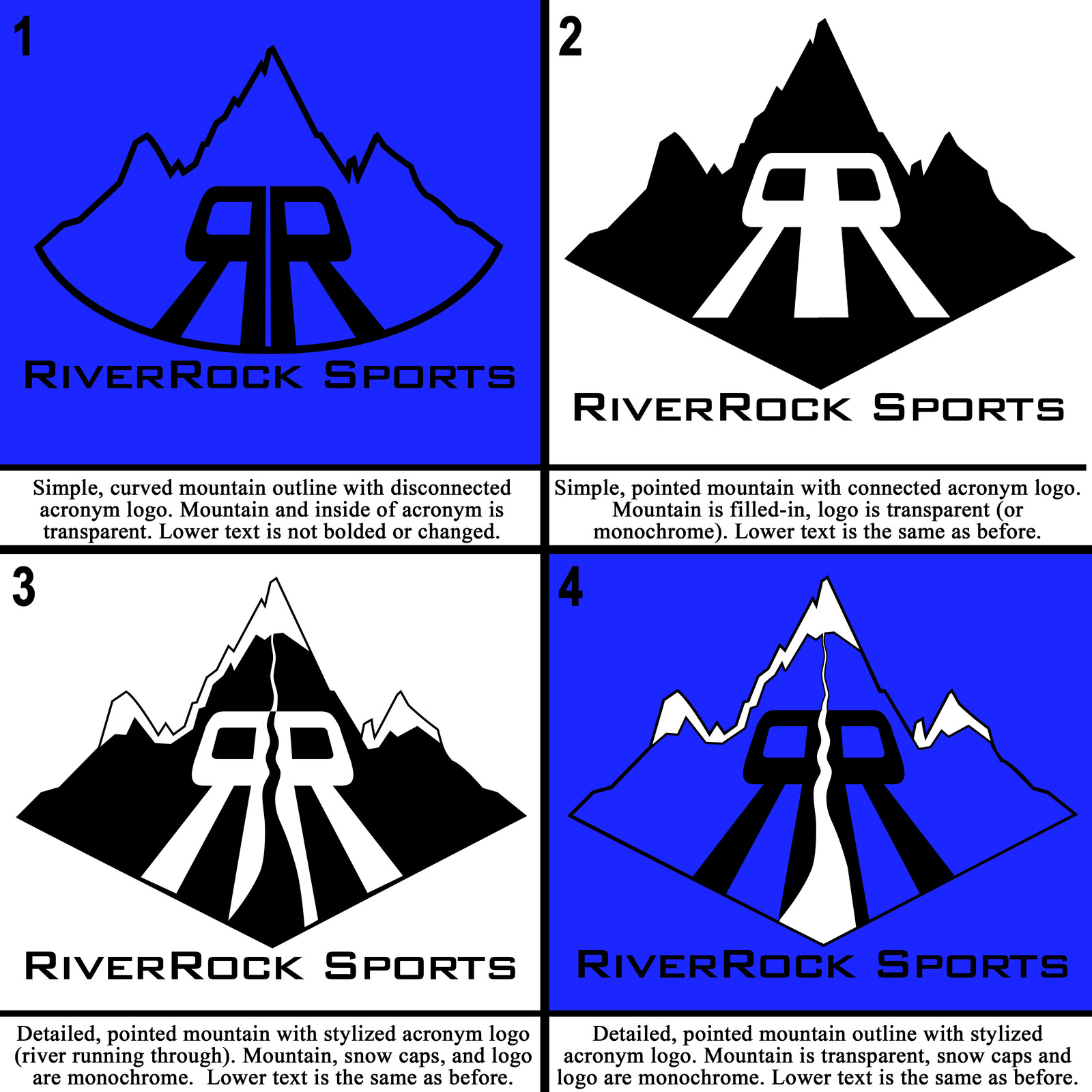 First batch of concepts for the RiverRocks logo