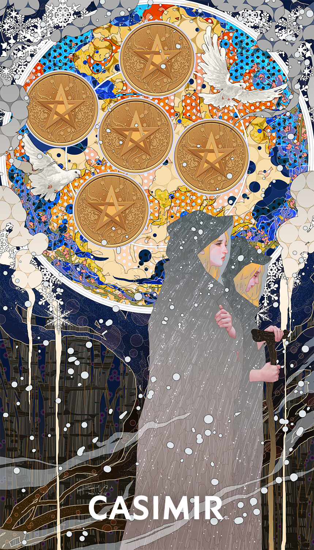 CASIMIR ART Minor Arcana 塔羅小秘儀  FIVE of PENTACLES / 錢幣五  #ArtCASIMIR #CASIMIR #CASIMIRArt #female #drawing #fineart #painting #limitedprint #arterotica #eroticart #塔羅牌 #塔羅 #Tarot #tarot_card #tarot_cards