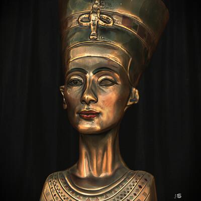 Surajit sen nefertiti metal look surajitsen digital sculpture may2021 l