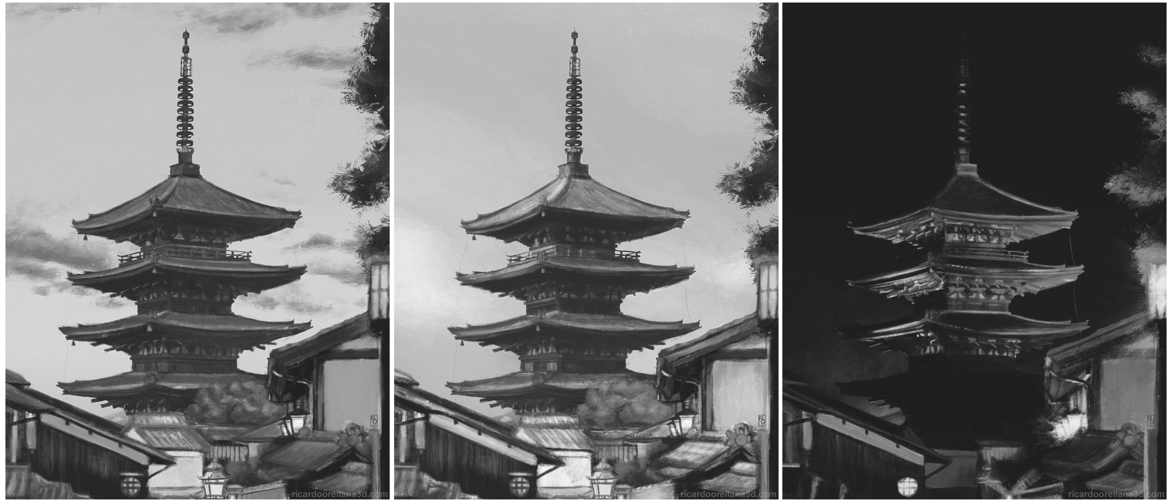 """Kyoto """"Before"""" painting series - BW"""
