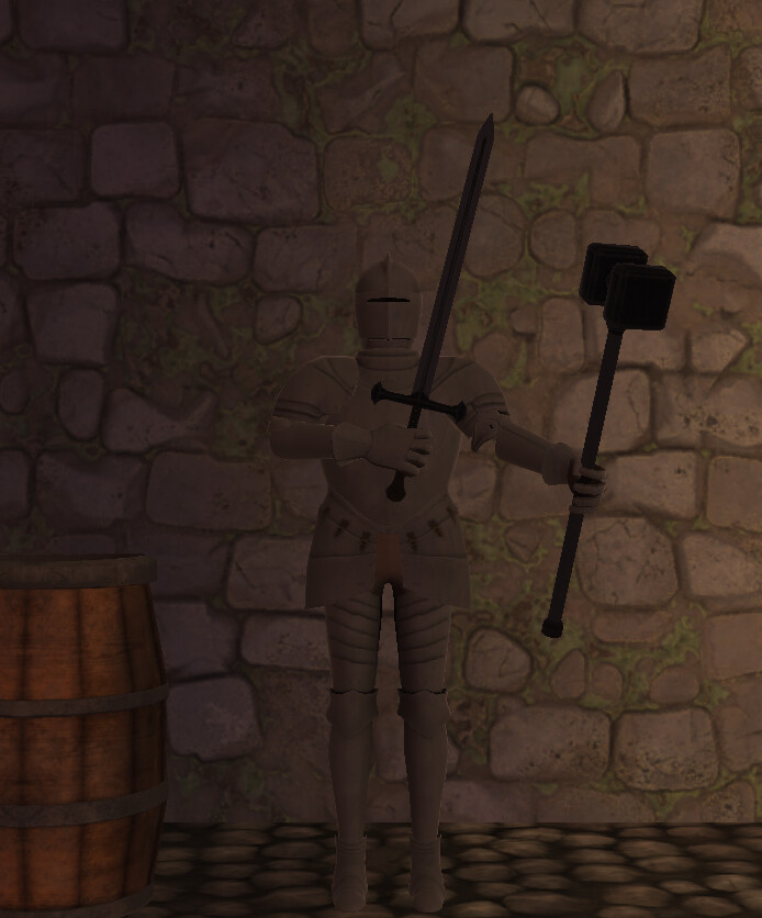 Selecting a knight's weapon correctly tucks the arm in