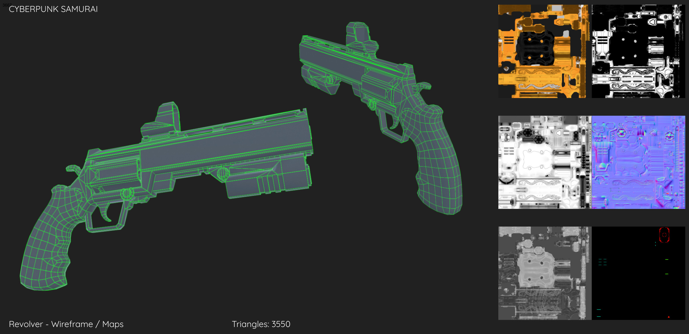 Cyberpunk Samurai - Revolver Wireframe/Maps
