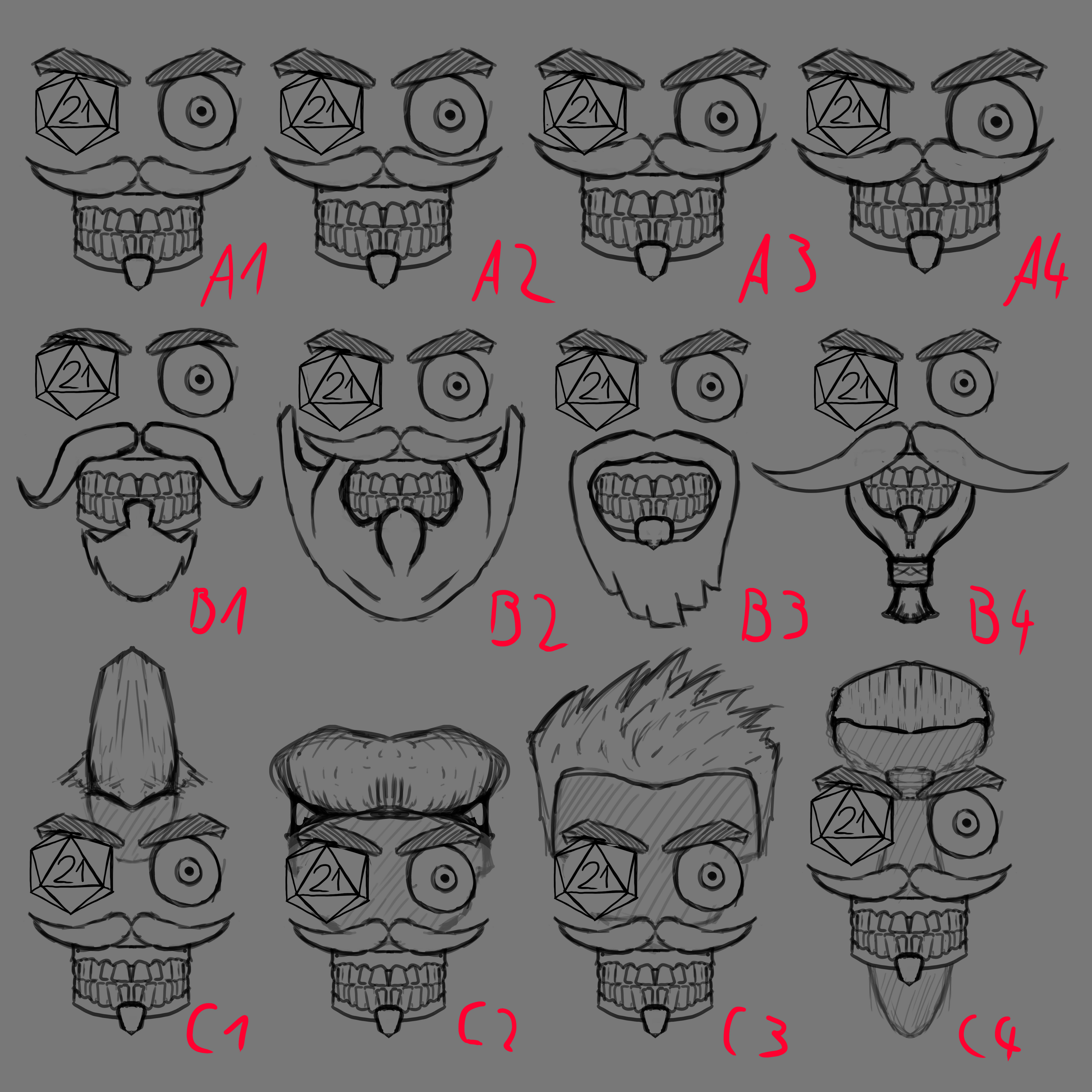 Drafts of a social media character for HDF Games.