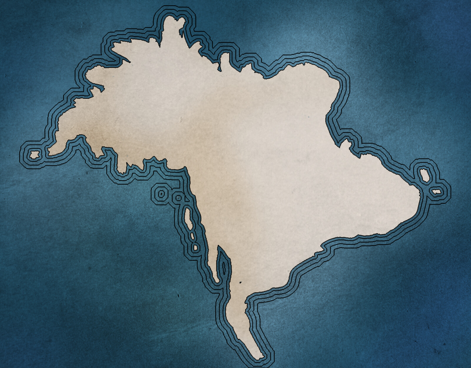 Outline of the continent of Aondal in the style of an old map.