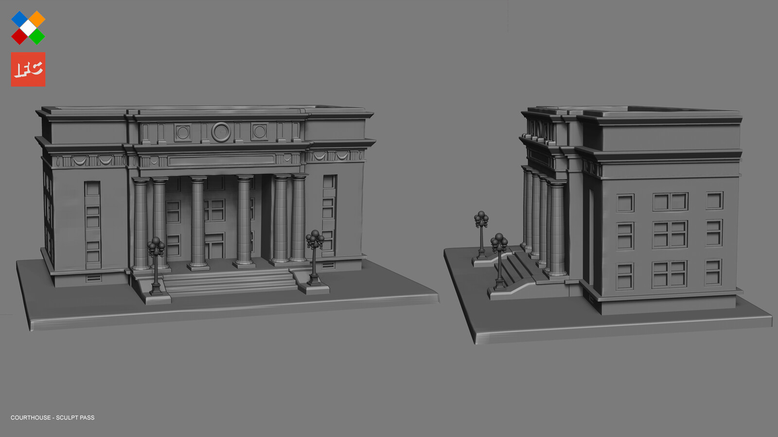 Imperfections sculpt pass done for the Courthouse model
