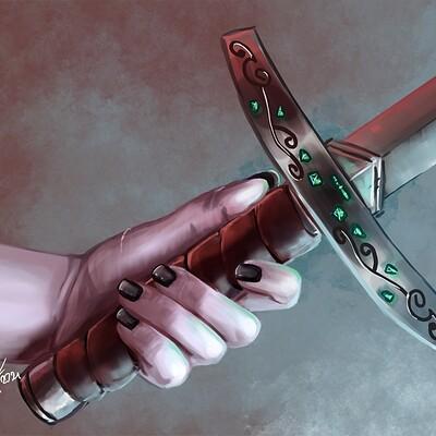 Magical kaleidoscope hand and sword
