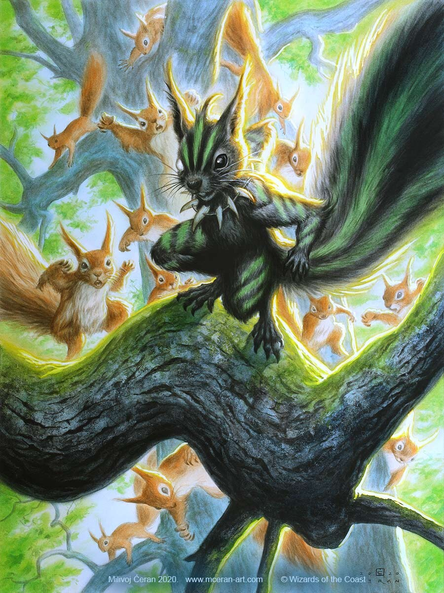 """- """"Chatterfang, Squirrel General"""" Milivoj Ćeran 2020. - 60 x 45 cm (23,6 x 17,7 inches) - acrylic on paper (Fabriano 5, 300 gsm) - © Wizards of the Coast - AD Cynthia Sheppard - """"Modern Horizons 2"""" set - Legendary Creature, Mythic card"""
