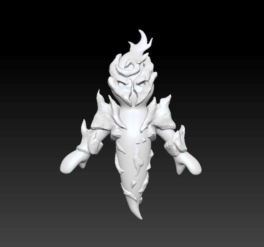 Original 3d model of Blaze, the team decided we wanted to make Blaze more appealing to the player however, so we went for a more cute route as seen above.