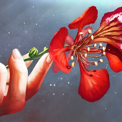Magical kaleidoscope hand and flower