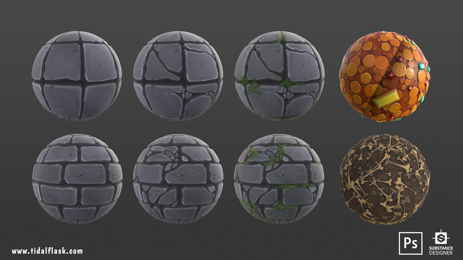 """""""Fantastic - Dungeon Pack"""". The floor and wall textures were first drawn in Photoshop. I then used those as base to create masks for Substance Designer. Base dirt texture for the bones was also drawn in Photoshop first. Rest of the textures 100% SD"""