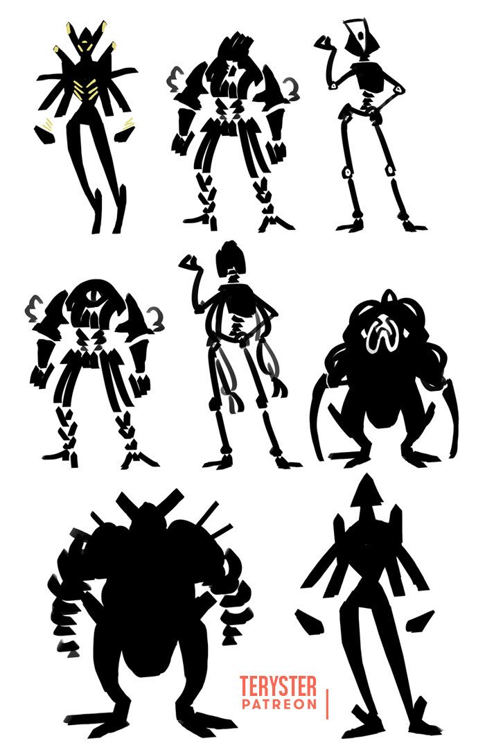 Shape exploration of mecha and alien characters from Omega