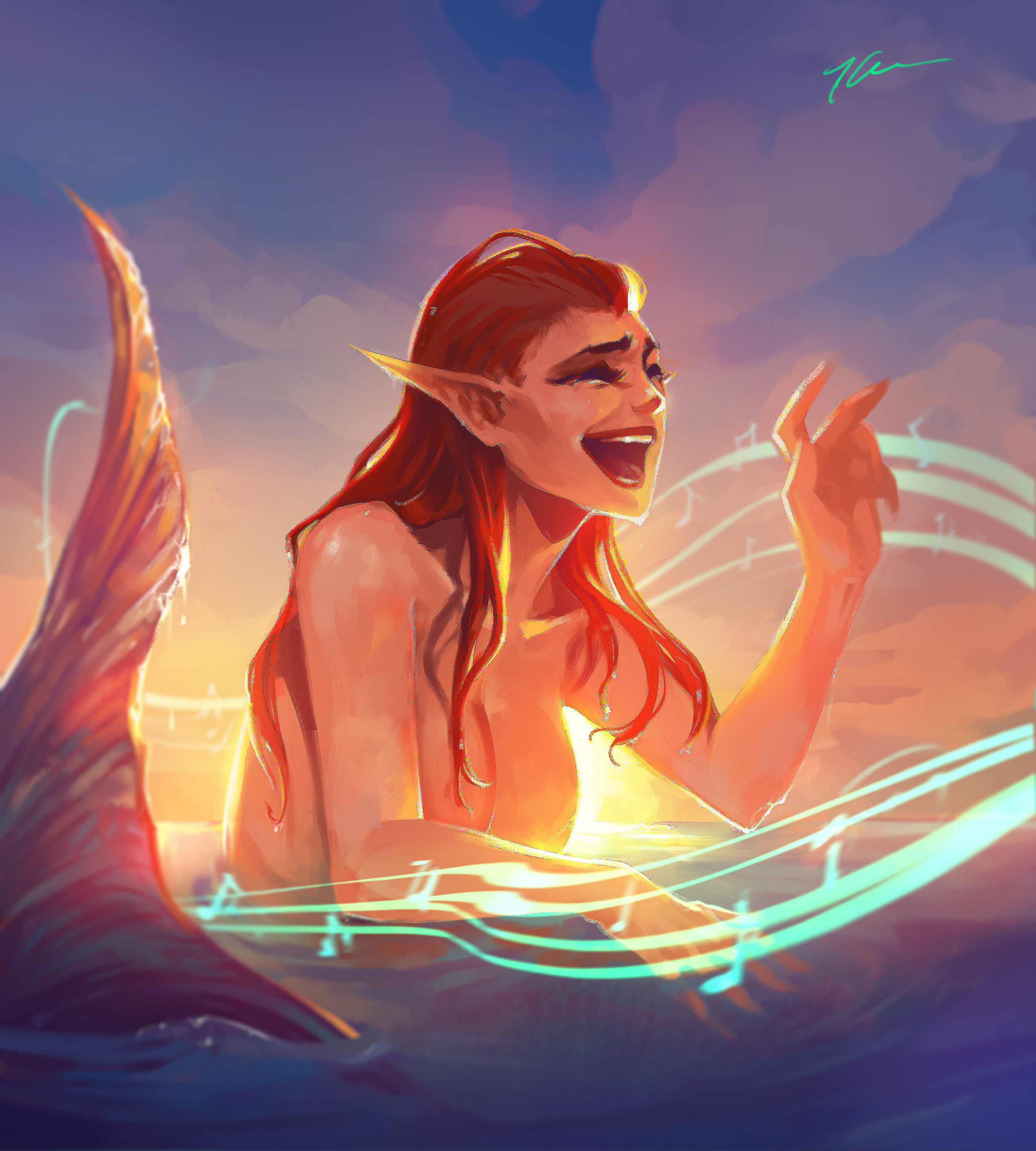 Sunset Melody - This siren sings at the sunset, so be careful or you might get lured in~