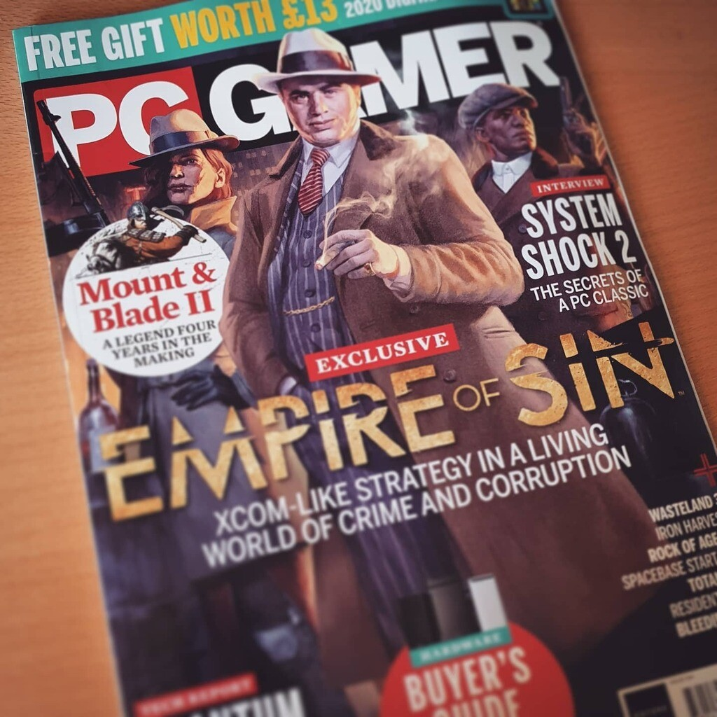 Empire of Sin on the cover of PC Gamer's June 2020 issue.