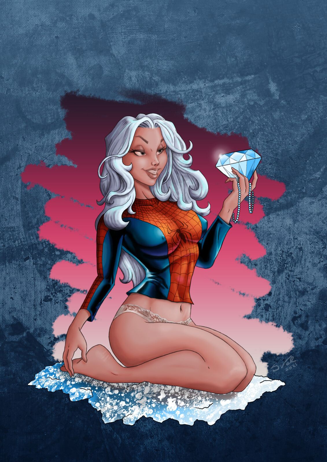 Black Cat draw this in your style J Scott Campbell