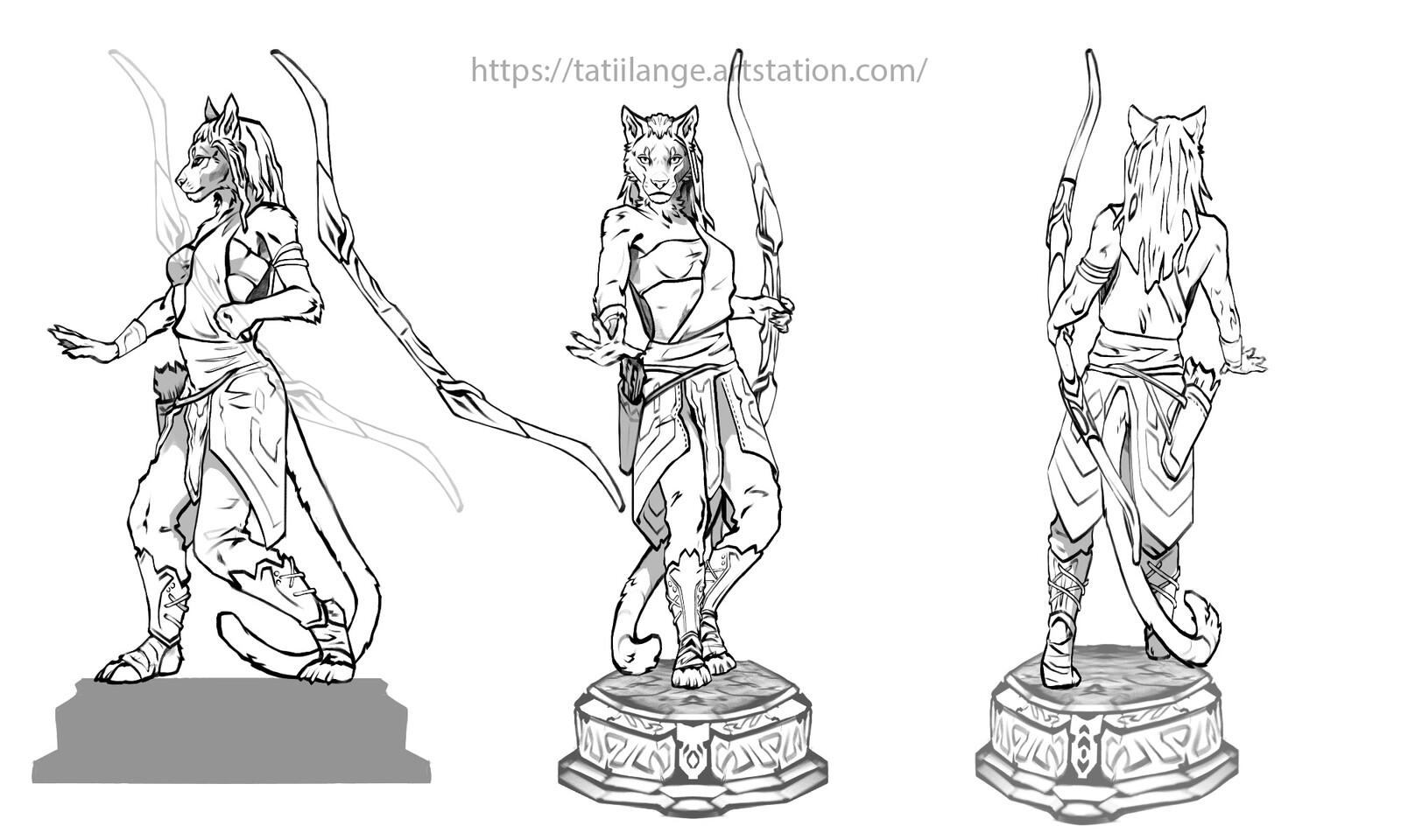 Khajiit statue turnaround