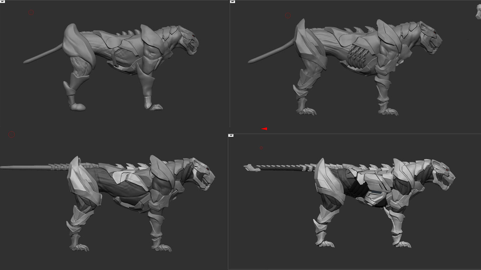 Zbrush progression. In hindsight the breakup was way too soon. Should've kept the mesh connected in the first stages