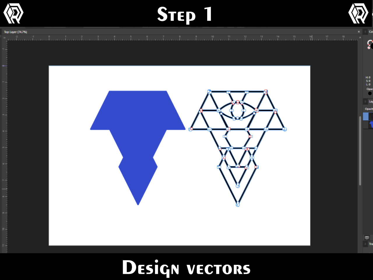 """Create two layers in a vector tool. I use Affinity Designer. The """"back"""" shape needs to be the filled in outline of the more complicated """"front"""" shape."""