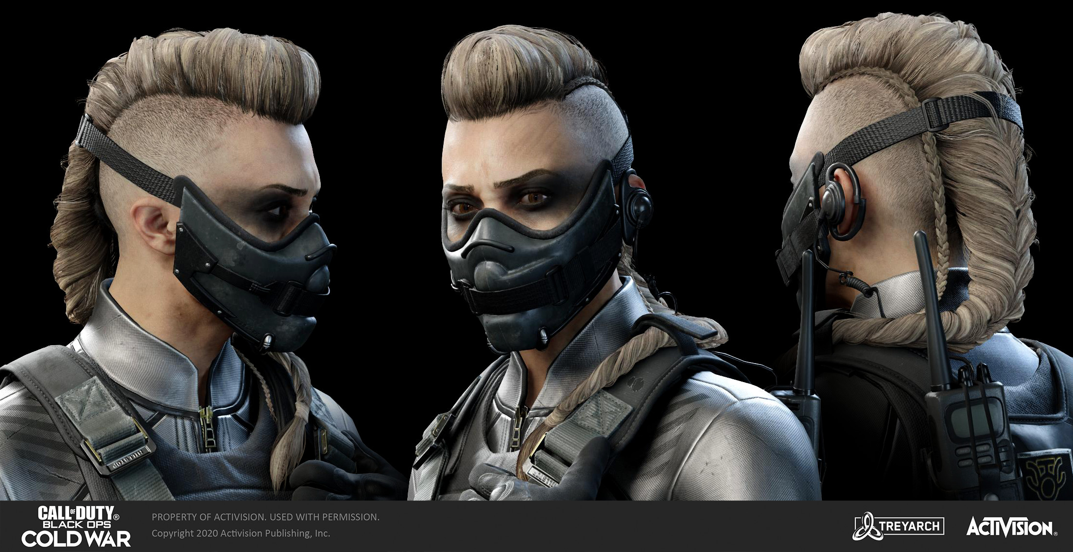 Her base outfit was made by Kyle Martin, and the original concept design by Dave Paget.