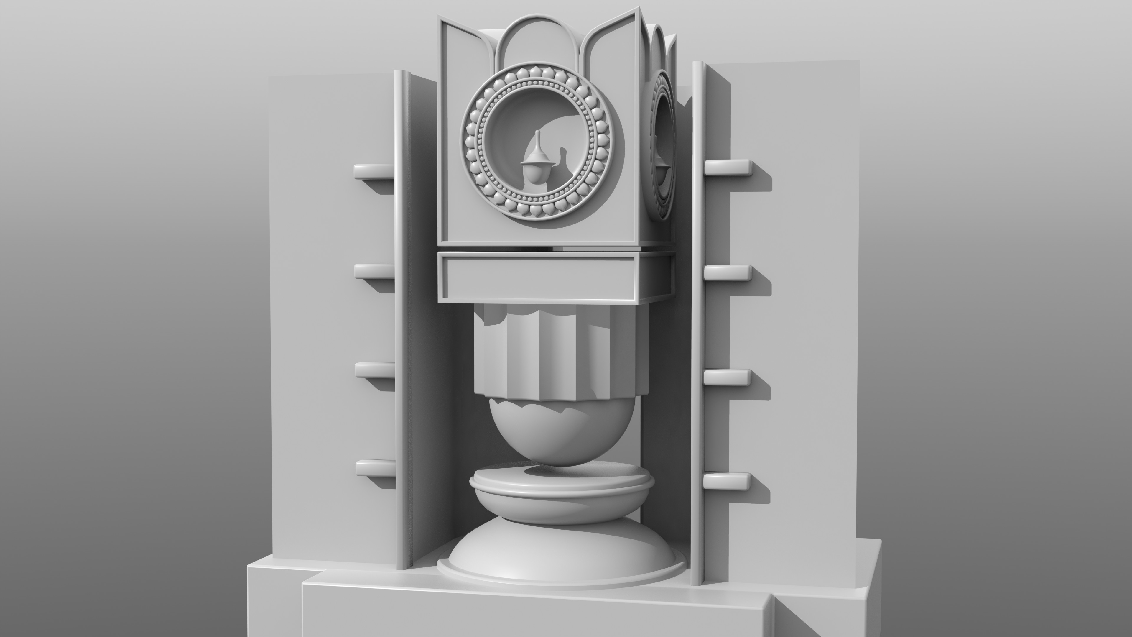 I was getting tired of seeing the same old poorly designed and rendered diya images around Diwali, so started putting together a couple of scenes:  one for a plate of sweet offerings, and one for a futuristic shrine.
