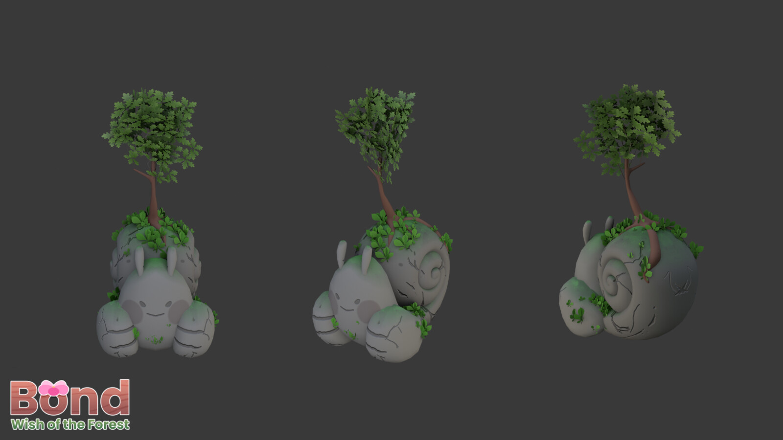This is a reused creature model in the game that Ilda Aguilar (https://twitter.com/fresitartista) made and I remodeled the arms and antenna, and then added tree. I also textured it to look like a stone structure.