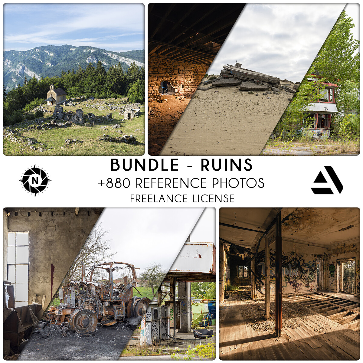 Bundle Reference Photos: Ruins - Freelance License  https://www.artstation.com/a/6297629