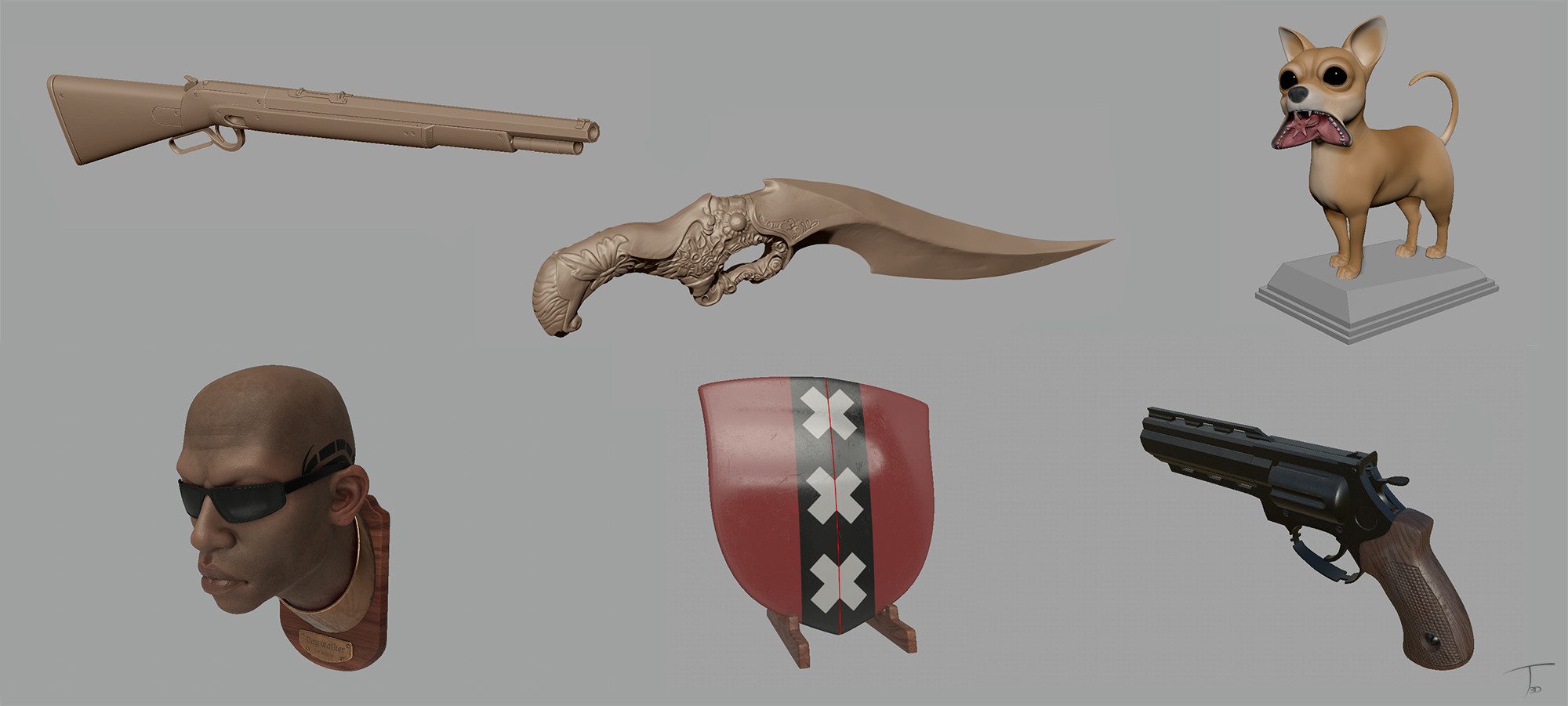 Some of the assets, grabbed from zbrush or substance viewport