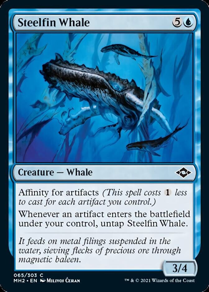 """""""Steelfin Whale"""" released card - AD Cynthia Sheppard - Magic the Gathering, """"Modern Horizons 2"""", release June 2021"""