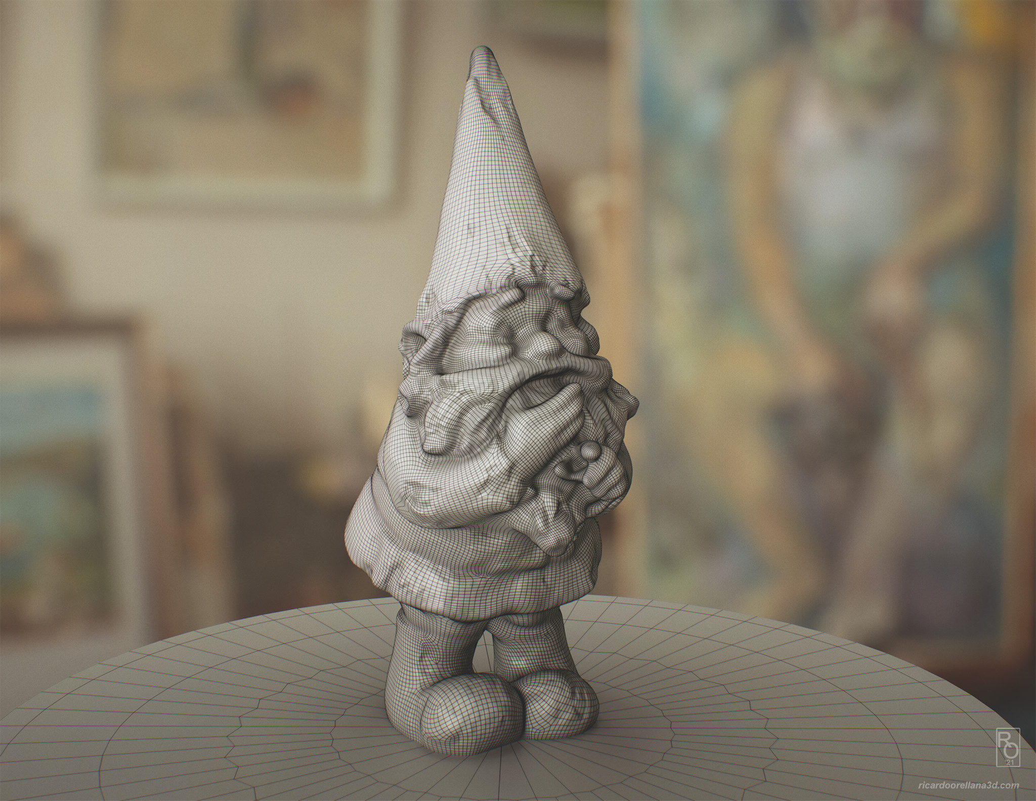Gnome mesh reconstructed in Zbrush via ZRemesher with subdivision level 2 used for the render