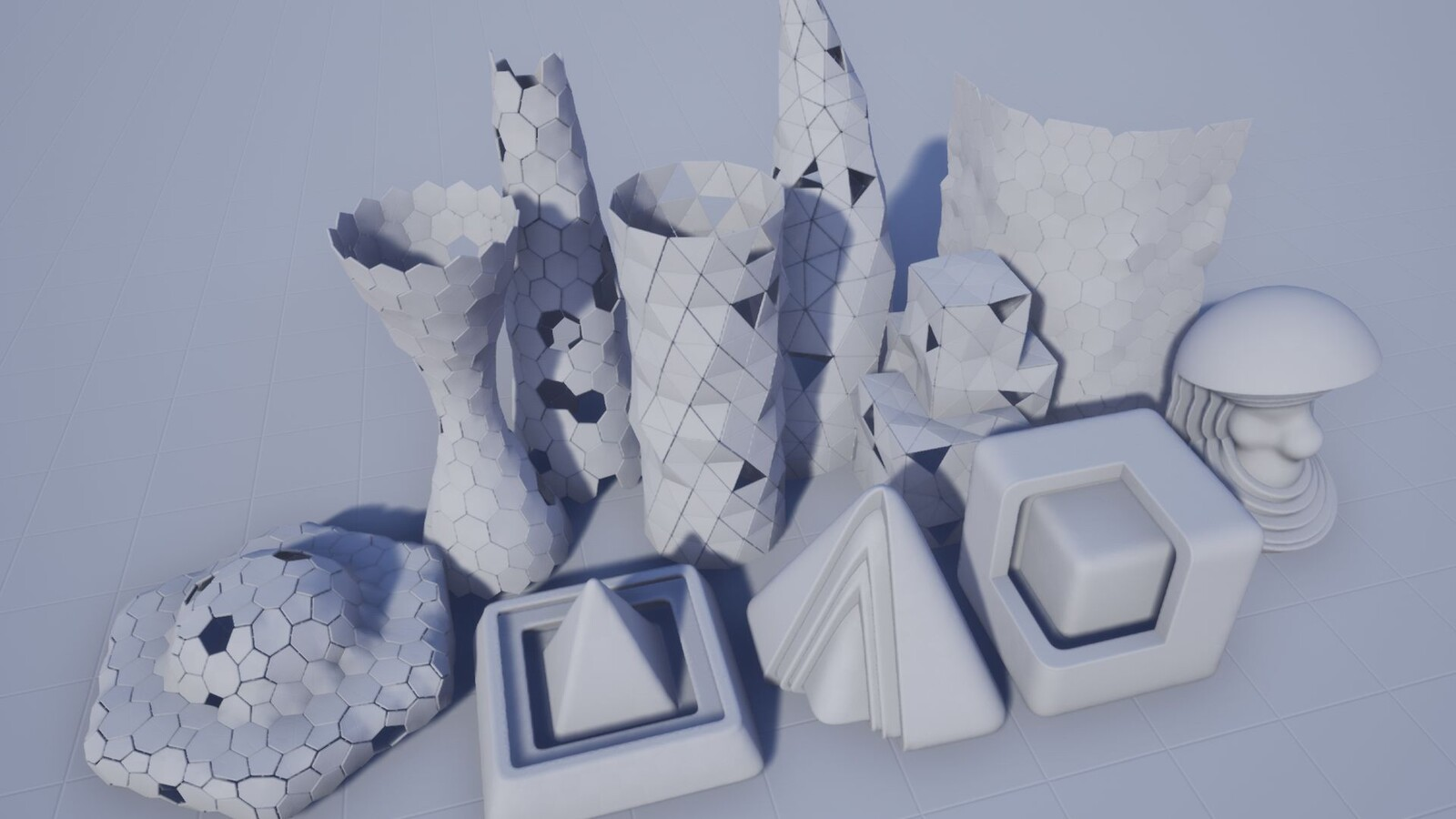 Some generated models brought into Unreal Engine.