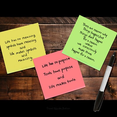 Daniel melendez boelian sticky notes things wood back withh pen fixed