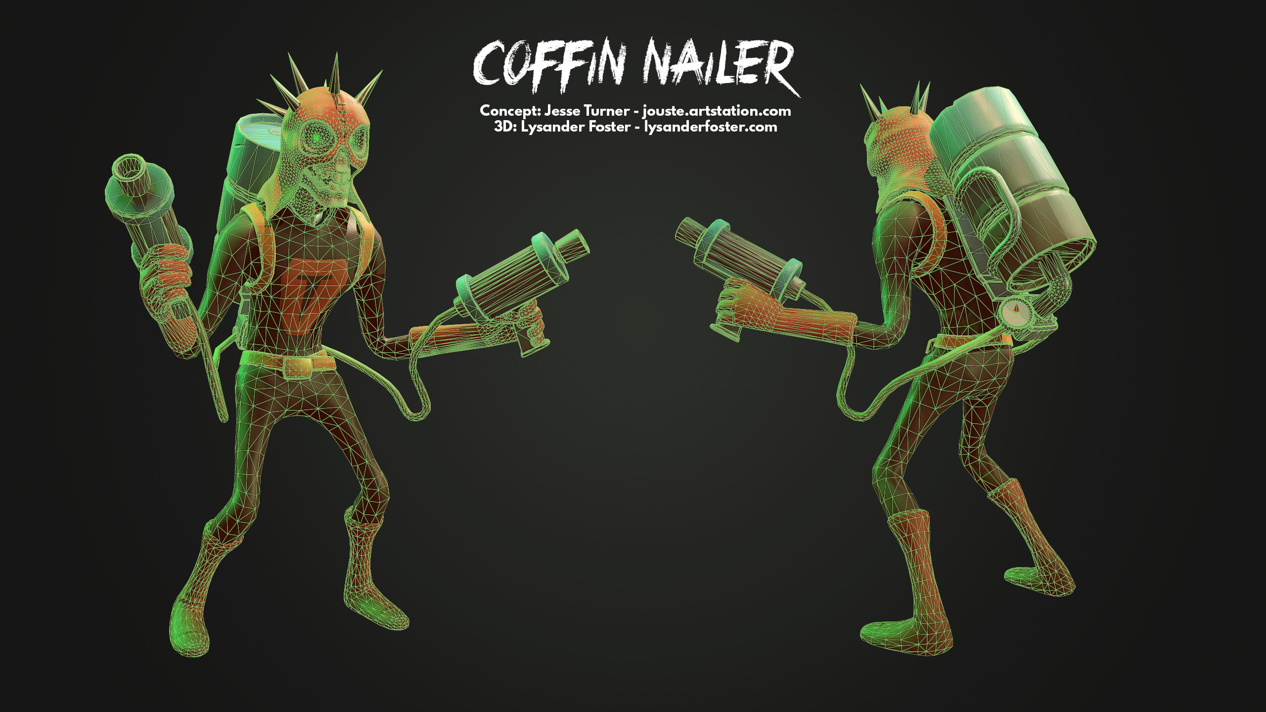 Wireframe of the Nailer himself, posed with his backpack using a modified CAT rig with 2 extra tails to link the pistols.