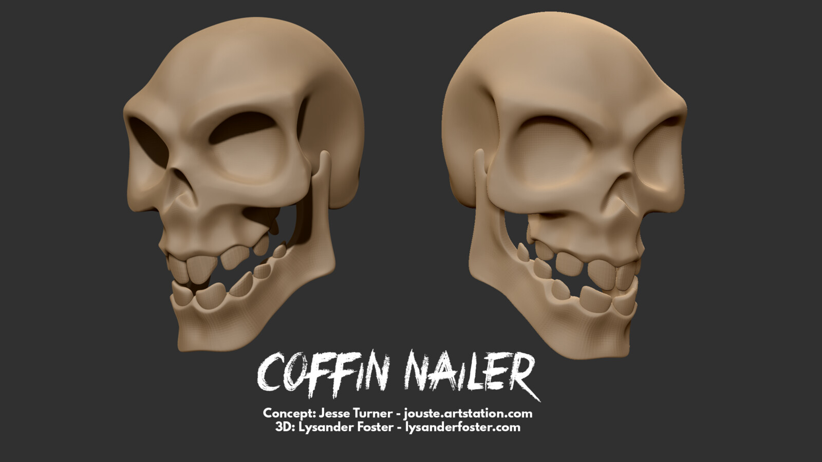 As the skull sculpt came out so nicely, I thought I'd include a render from Zbrush just for it. Starting from a super basic basemesh was helpful, but the lower jaw and seating teeth inside was by far the hardest bit!