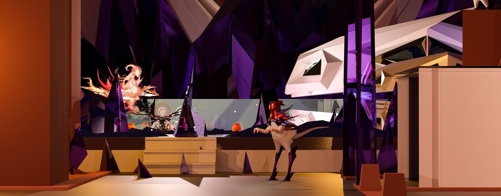 Faceless Ruby Glass Celestial Plane Scene Mockup