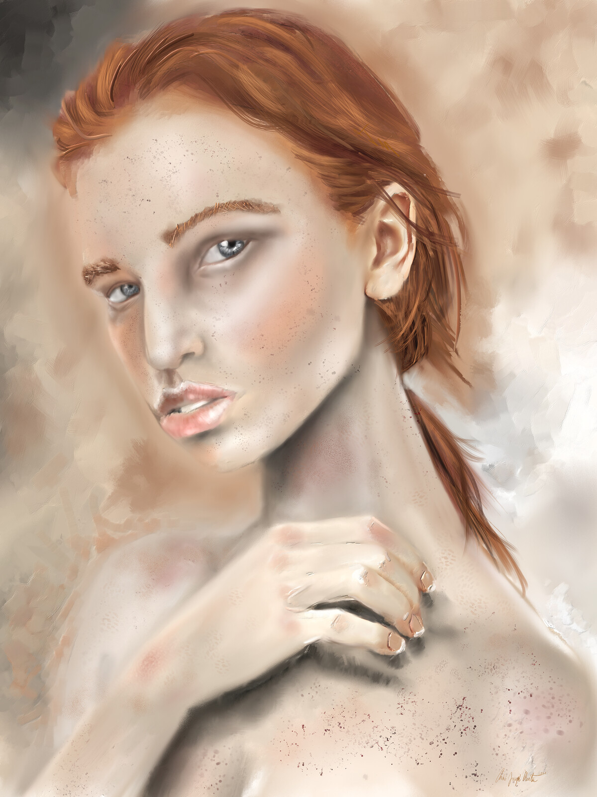 Portrait: Woman With Red Hair & Freckles.