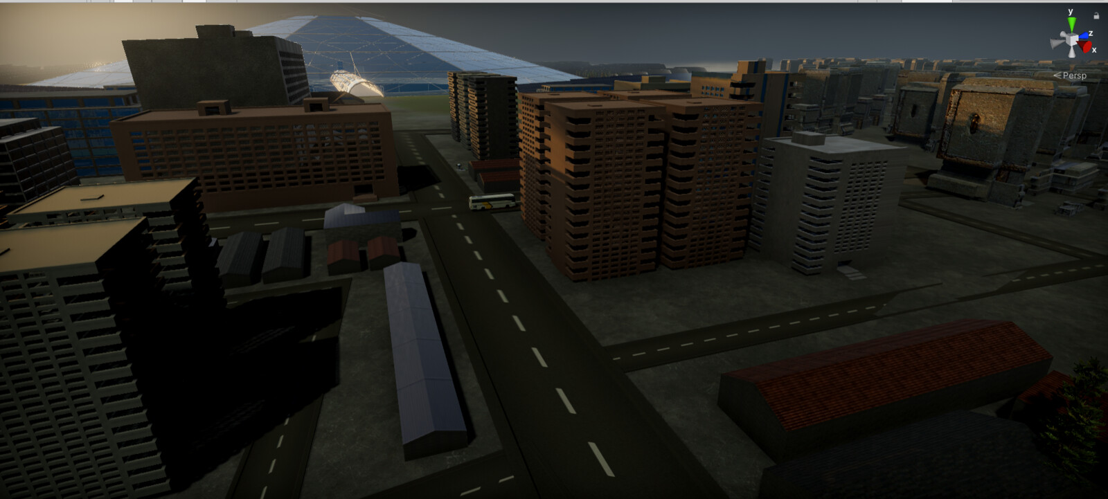 The city area outside the mine - Unity screenshot