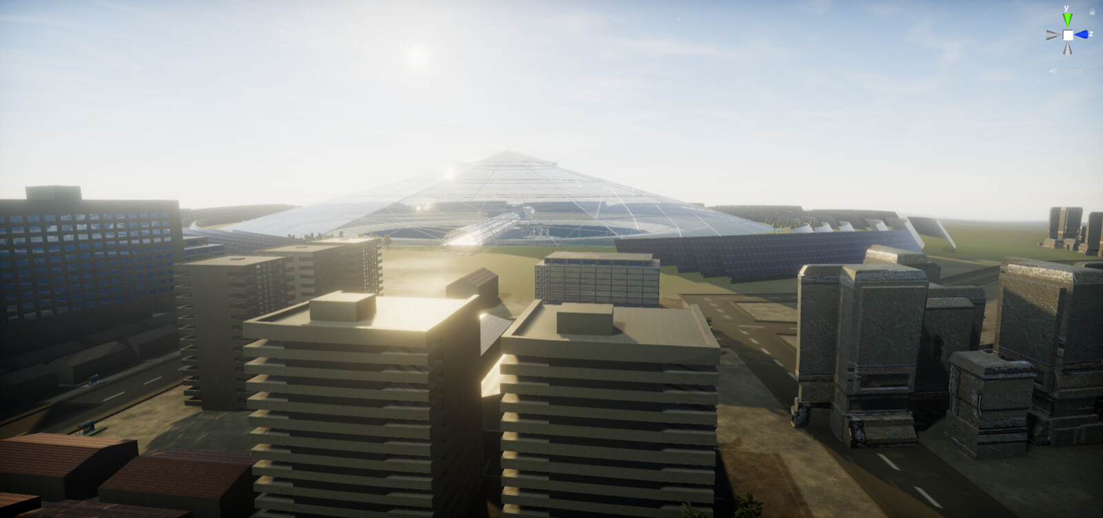 The buildings surrounding the dome - Unity screenshot.