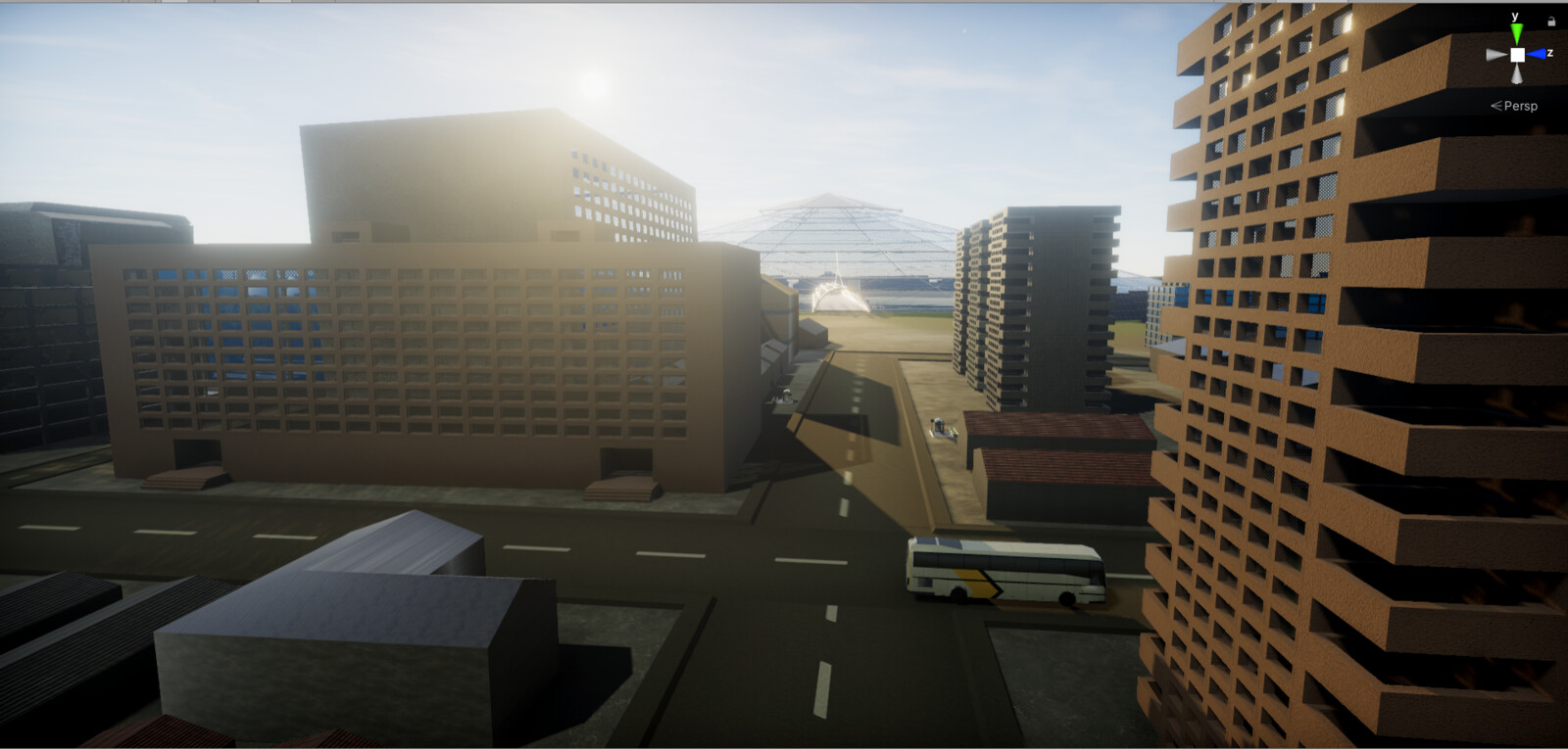 The streets leading up to the mine - Unity screenshot.