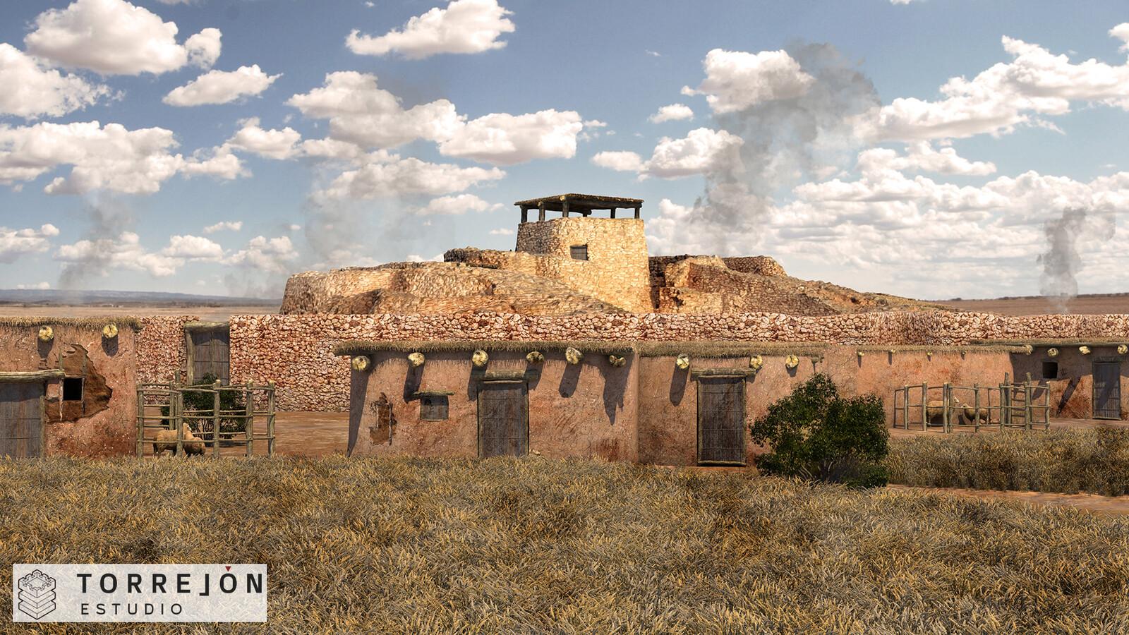 Recreación 3D fotorrealista de la Motilla del Azuer y su poblado.