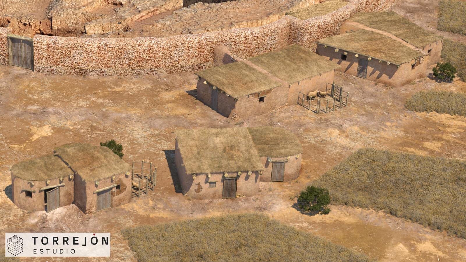 Recreación 3D fotorrealista de la Motilla del Azuer y su poblado - detalle 02.