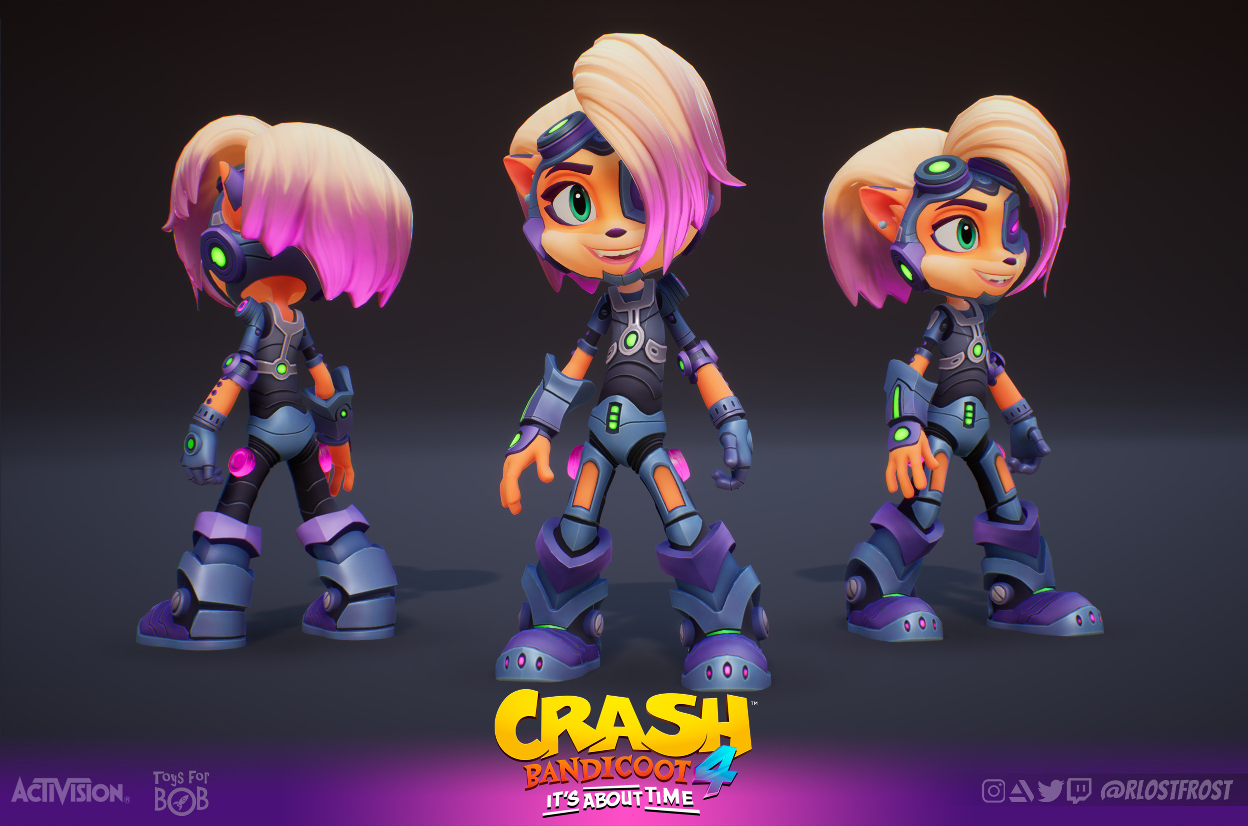 Coco's Serious Upgrade Skin In-game textured model. Base Coco model credit to our Character department at Toys For Bob