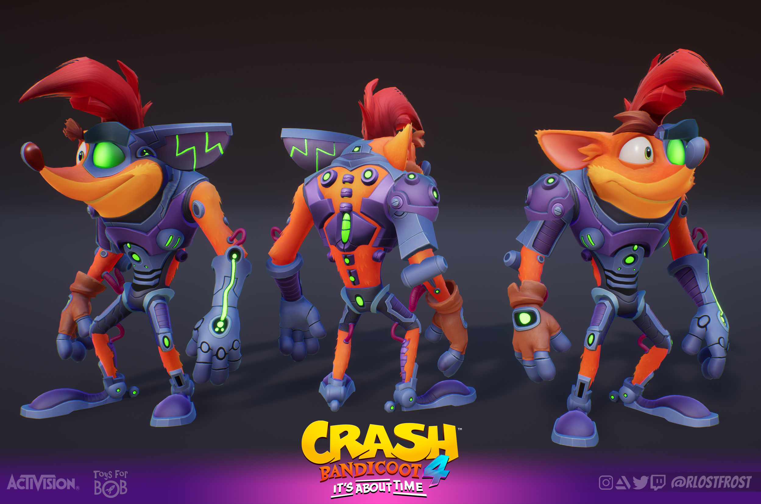 Crash's Serious Upgrade Skin In-game textured model.  Credit to our Character department at Toys For Bob and Airborn Studios for their work on the base Crash model.